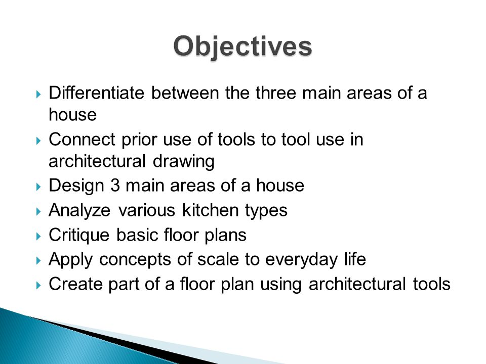 Differentiate between the three main areas of a house Connect prior use of tools to tool use in architectural drawing Design 3 main areas of a house A