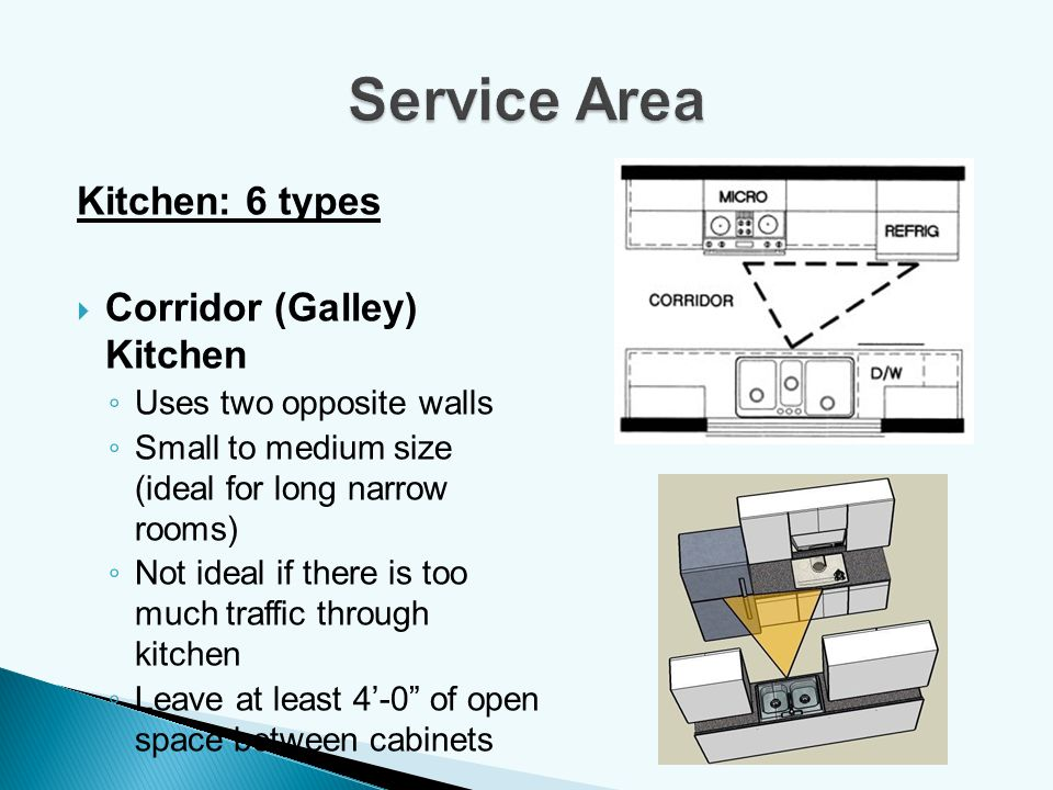 Kitchen: 6 types Corridor (Galley) Kitchen Uses two opposite walls Small to medium size (ideal for long narrow rooms) Not ideal if there is too much t