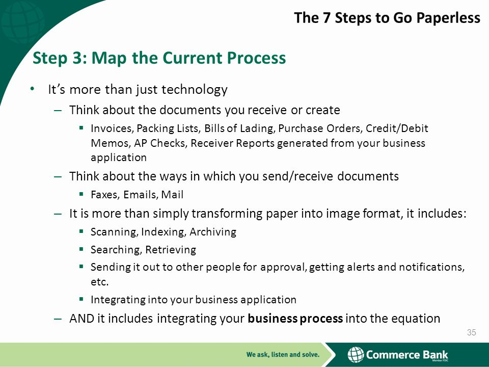 Its more than just technology – Think about the documents you receive or create Invoices, Packing Lists, Bills of Lading, Purchase Orders, Credit/Debit Memos, AP Checks, Receiver Reports generated from your business application – Think about the ways in which you send/receive documents Faxes, Emails, Mail – It is more than simply transforming paper into image format, it includes: Scanning, Indexing, Archiving Searching, Retrieving Sending it out to other people for approval, getting alerts and notifications, etc.