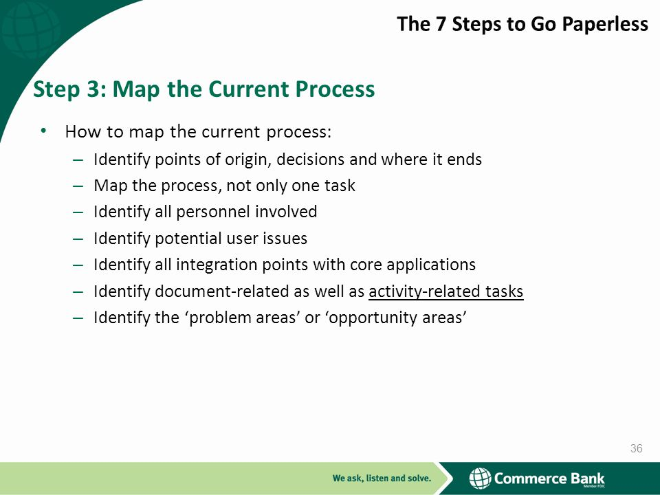 How to map the current process: – Identify points of origin, decisions and where it ends – Map the process, not only one task – Identify all personnel involved – Identify potential user issues – Identify all integration points with core applications – Identify document-related as well as activity-related tasks – Identify the problem areas or opportunity areas Step 3: Map the Current Process 36