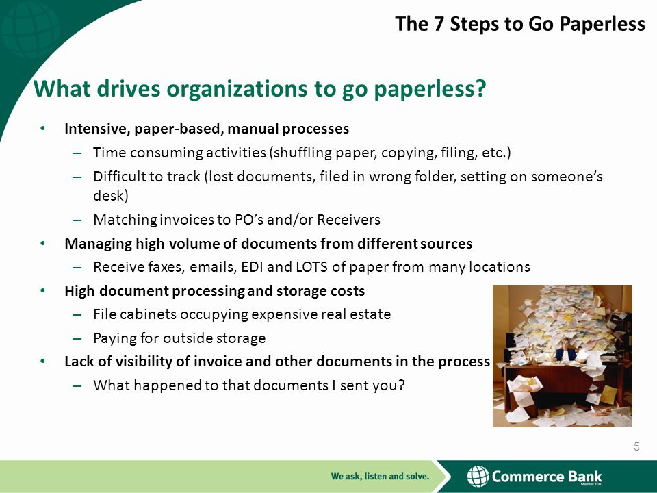 What drives organizations to go paperless.
