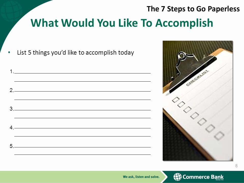 What Would You Like To Accomplish List 5 things youd like to accomplish today 1. 2. 3. 4. 5. 8