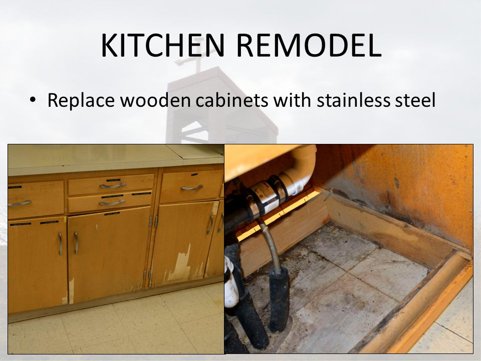 KITCHEN REMODEL Replace wooden cabinets with stainless steel