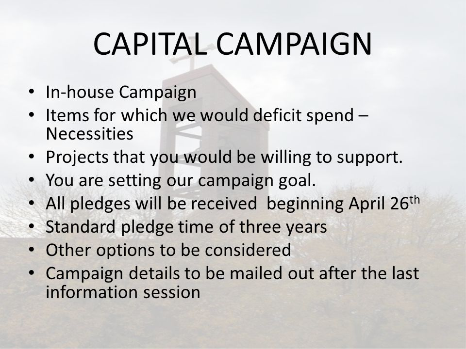CAPITAL CAMPAIGN In-house Campaign Items for which we would deficit spend – Necessities Projects that you would be willing to support. You are setting