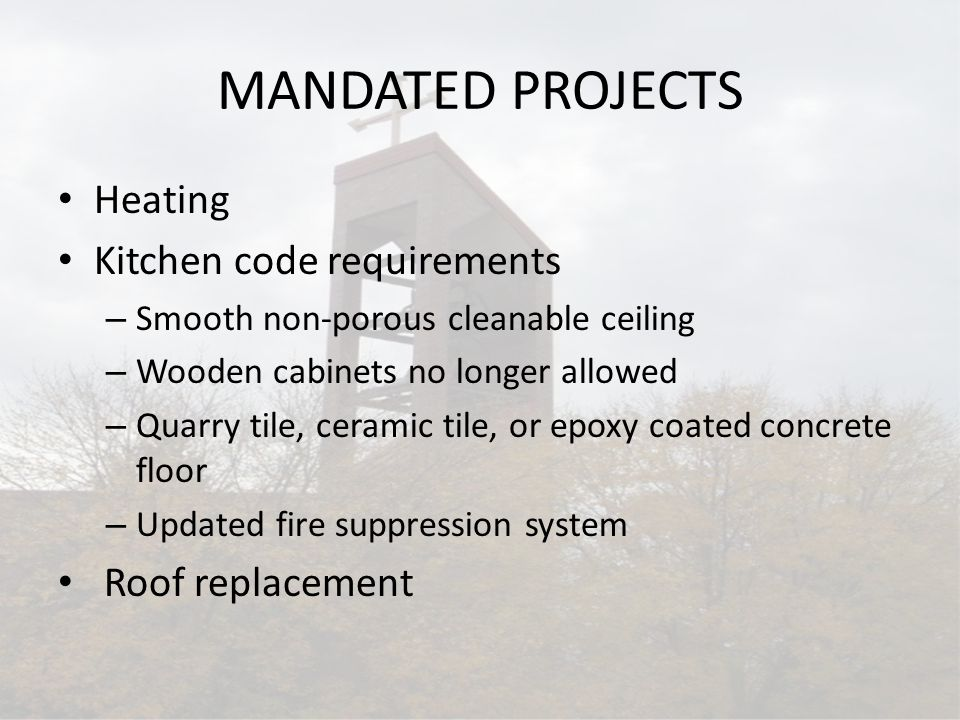 MANDATED PROJECTS Heating Kitchen code requirements – Smooth non-porous cleanable ceiling – Wooden cabinets no longer allowed – Quarry tile, ceramic t