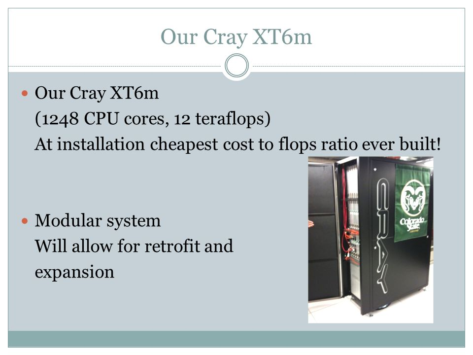 Our Cray XT6m (1248 CPU cores, 12 teraflops) At installation cheapest cost to flops ratio ever built.