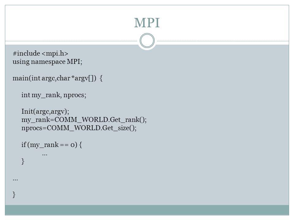 MPI #include using namespace MPI; main(int argc,char *argv[]) { int my_rank, nprocs; Init(argc,argv); my_rank=COMM_WORLD.Get_rank(); nprocs=COMM_WORLD.Get_size(); if (my_rank == 0) {...