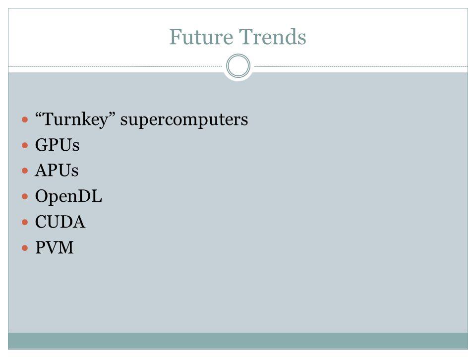 Future Trends Turnkey supercomputers GPUs APUs OpenDL CUDA PVM