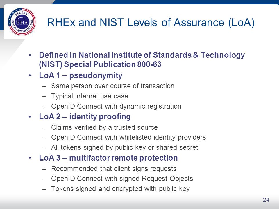 RHEx and NIST Levels of Assurance (LoA) Defined in National Institute of Standards & Technology (NIST) Special Publication 800-63 LoA 1 – pseudonymity