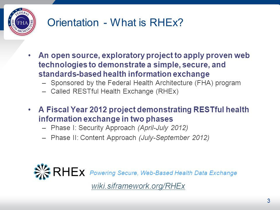 Orientation - What is RHEx? An open source, exploratory project to apply proven web technologies to demonstrate a simple, secure, and standards-based
