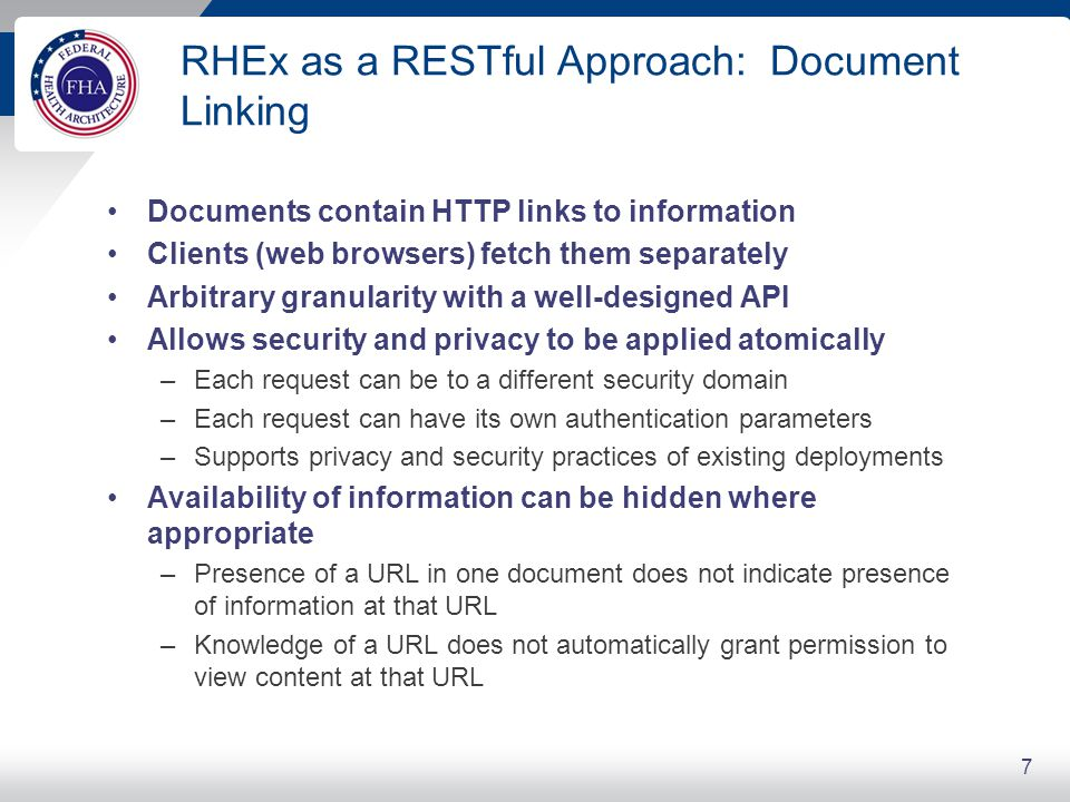 RHEx as a RESTful Approach: Document Linking Documents contain HTTP links to information Clients (web browsers) fetch them separately Arbitrary granul