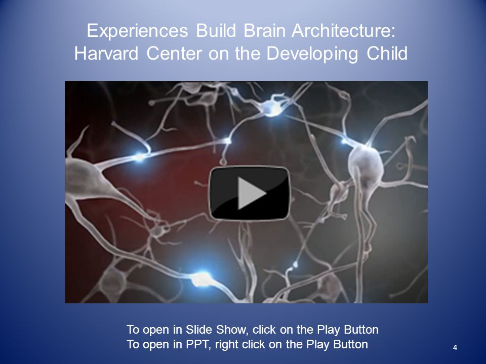 4 Experiences Build Brain Architecture: Harvard Center on the Developing Child To open in Slide Show, click on the Play Button To open in PPT, right click on the Play Button