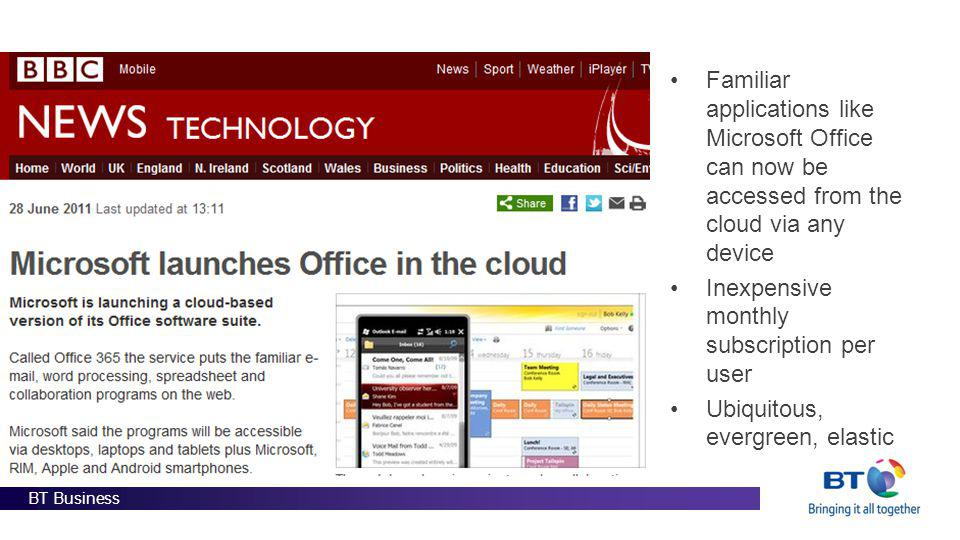 BT Business Familiar applications like Microsoft Office can now be accessed from the cloud via any device Inexpensive monthly subscription per user Ub