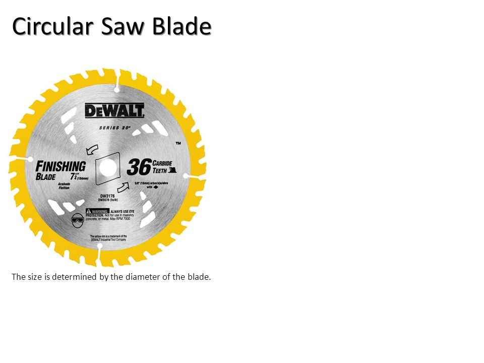 Circular Saw Blade The size is determined by the diameter of the blade.