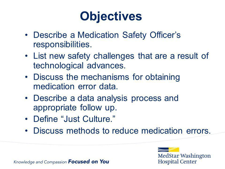 Objectives Describe a Medication Safety Officers responsibilities. List new safety challenges that are a result of technological advances. Discuss the