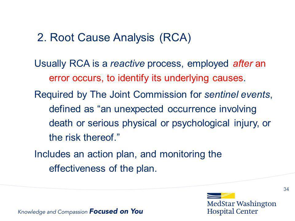 2. Root Cause Analysis (RCA) Usually RCA is a reactive process, employed after an error occurs, to identify its underlying causes. Required by The Joi