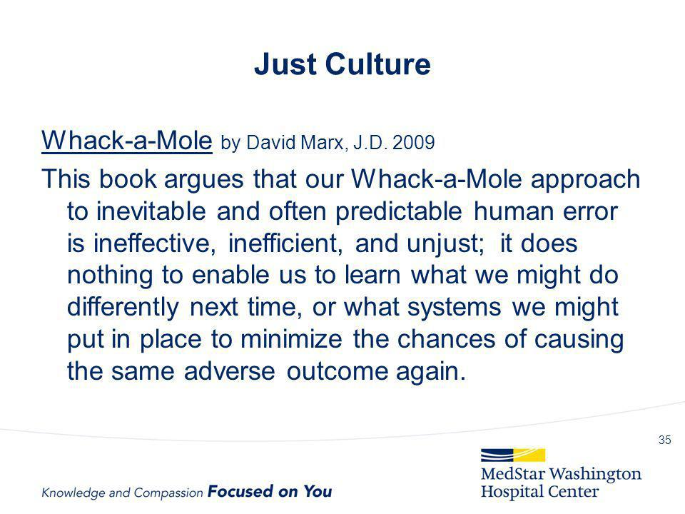 Just Culture Whack-a-Mole by David Marx, J.D. 2009 This book argues that our Whack-a-Mole approach to inevitable and often predictable human error is