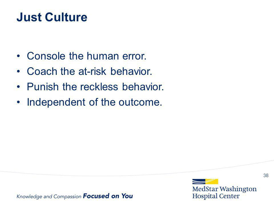 Just Culture Console the human error. Coach the at-risk behavior. Punish the reckless behavior. Independent of the outcome. 38