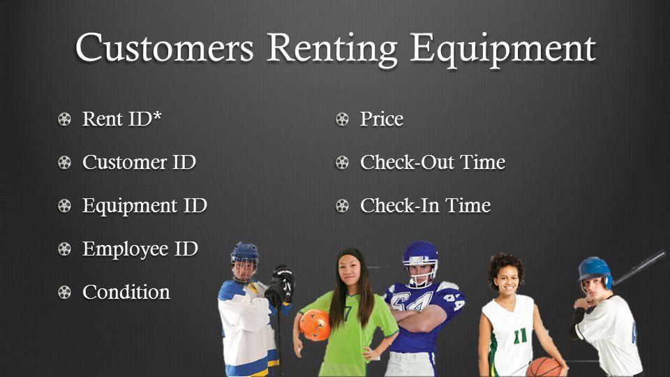 Customers Borrowing Equipment Equipment ID* Equipment Type Equipment Model Condition