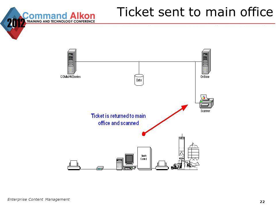 Ticket sent to main office Enterprise Content Management 22