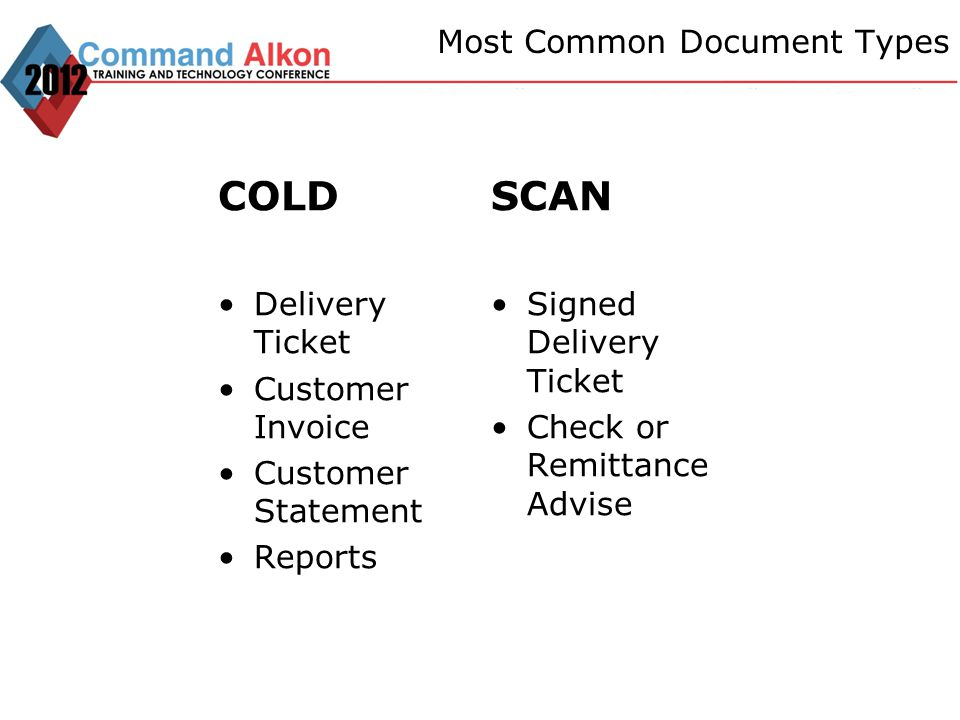 Most Common Document Types COLD Delivery Ticket Customer Invoice Customer Statement Reports SCAN Signed Delivery Ticket Check or Remittance Advise