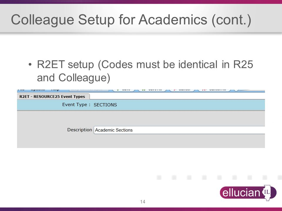 14 Colleague Setup for Academics (cont.) R2ET setup (Codes must be identical in R25 and Colleague)