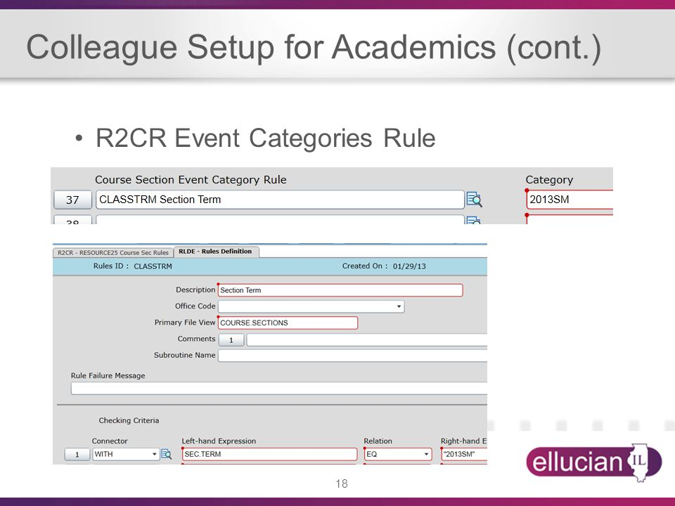 18 Colleague Setup for Academics (cont.) R2CR Event Categories Rule