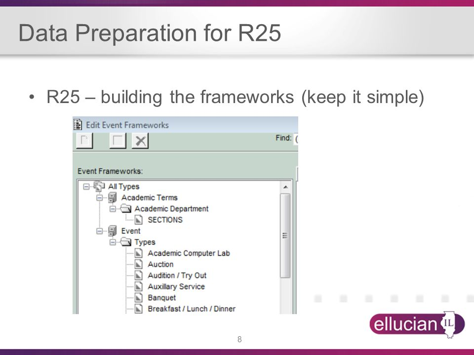 8 Data Preparation for R25 R25 – building the frameworks (keep it simple)