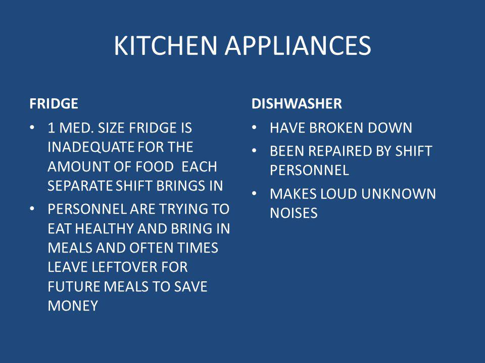 KITCHEN APPLIANCES FRIDGE 1 MED. SIZE FRIDGE IS INADEQUATE FOR THE AMOUNT OF FOOD EACH SEPARATE SHIFT BRINGS IN PERSONNEL ARE TRYING TO EAT HEALTHY AN