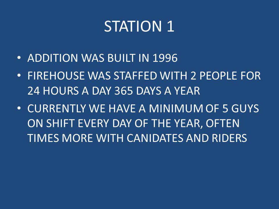 STATION 1 ADDITION WAS BUILT IN 1996 FIREHOUSE WAS STAFFED WITH 2 PEOPLE FOR 24 HOURS A DAY 365 DAYS A YEAR CURRENTLY WE HAVE A MINIMUM OF 5 GUYS ON S