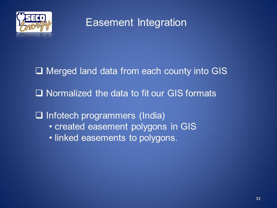 Easement Integration Merged land data from each county into GIS Normalized the data to fit our GIS formats Infotech programmers (India) created easement polygons in GIS linked easements to polygons.