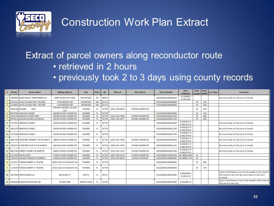 Construction Work Plan Extract Extract of parcel owners along reconductor route retrieved in 2 hours previously took 2 to 3 days using county records 16