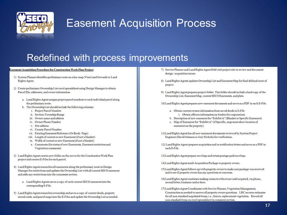 Easement Acquisition Process 17 Redefined with process improvements