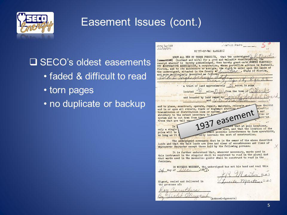 SECOs oldest easements faded & difficult to read torn pages no duplicate or backup 1937 easement Easement Issues (cont.) 5
