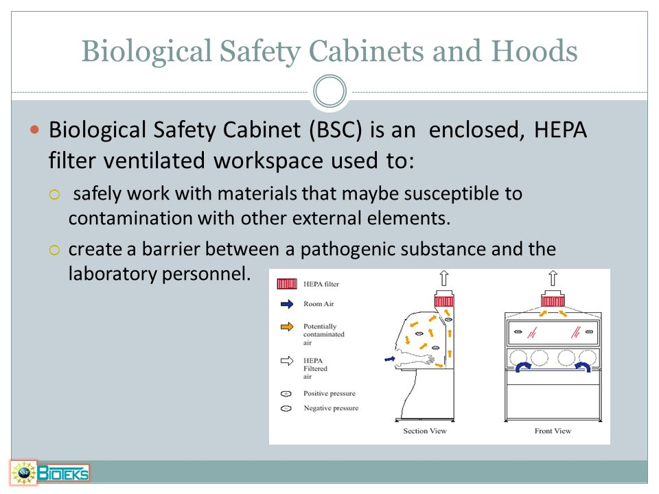 Biological Safety Cabinets and Hoods Biological Safety Cabinet (BSC) is an enclosed, HEPA filter ventilated workspace used to: safely work with materi