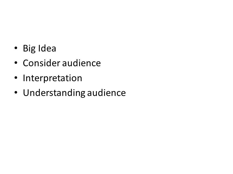 Big Idea Consider audience Interpretation Understanding audience