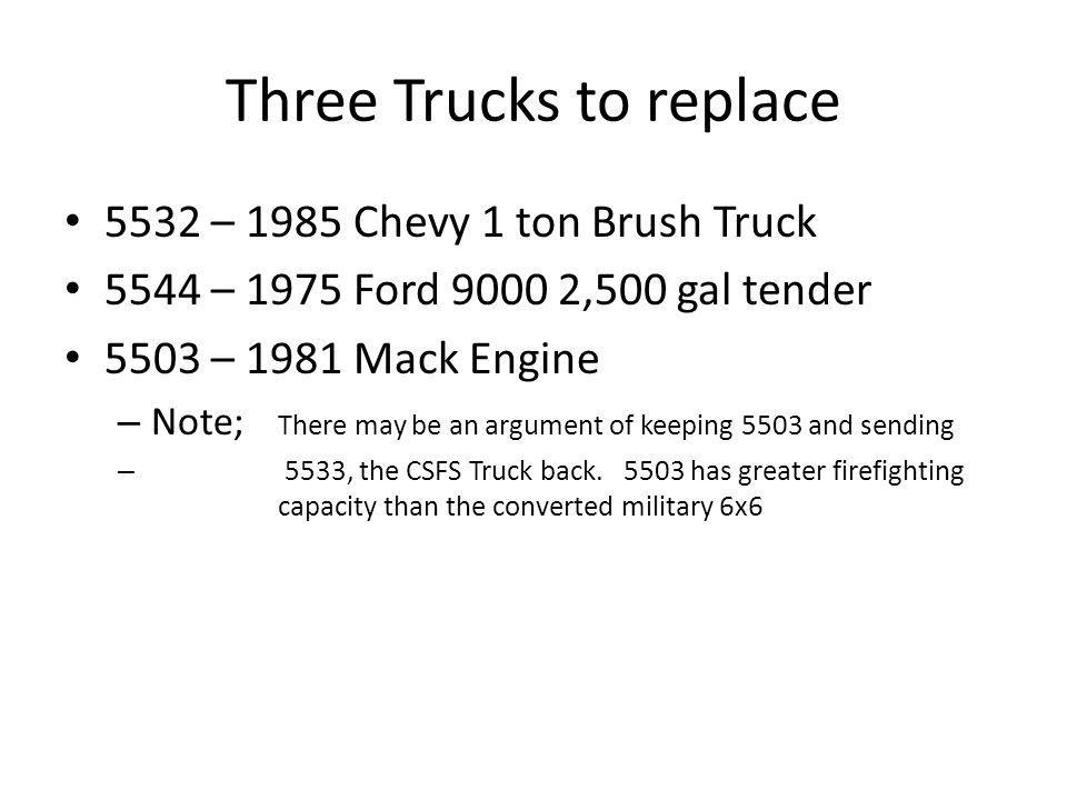 Three Trucks to replace 5532 – 1985 Chevy 1 ton Brush Truck 5544 – 1975 Ford ,500 gal tender 5503 – 1981 Mack Engine – Note; There may be an argument of keeping 5503 and sending – 5533, the CSFS Truck back.