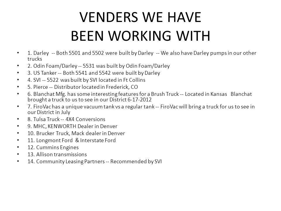 VENDERS WE HAVE BEEN WORKING WITH 1.