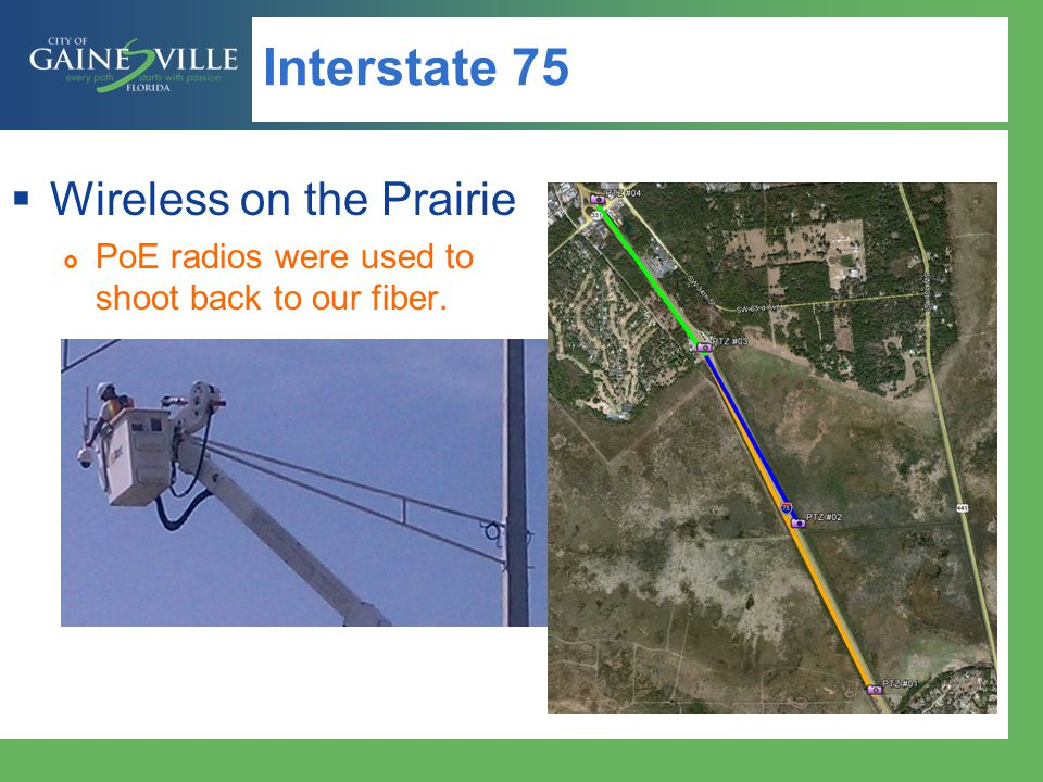 Interstate 75 Wireless on the Prairie PoE radios were used to shoot back to our fiber.