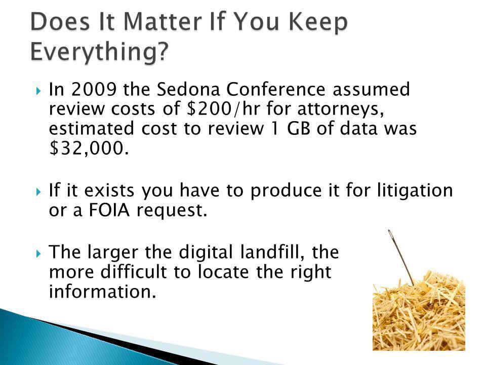 In 2009 the Sedona Conference assumed review costs of $200/hr for attorneys, estimated cost to review 1 GB of data was $32,000.