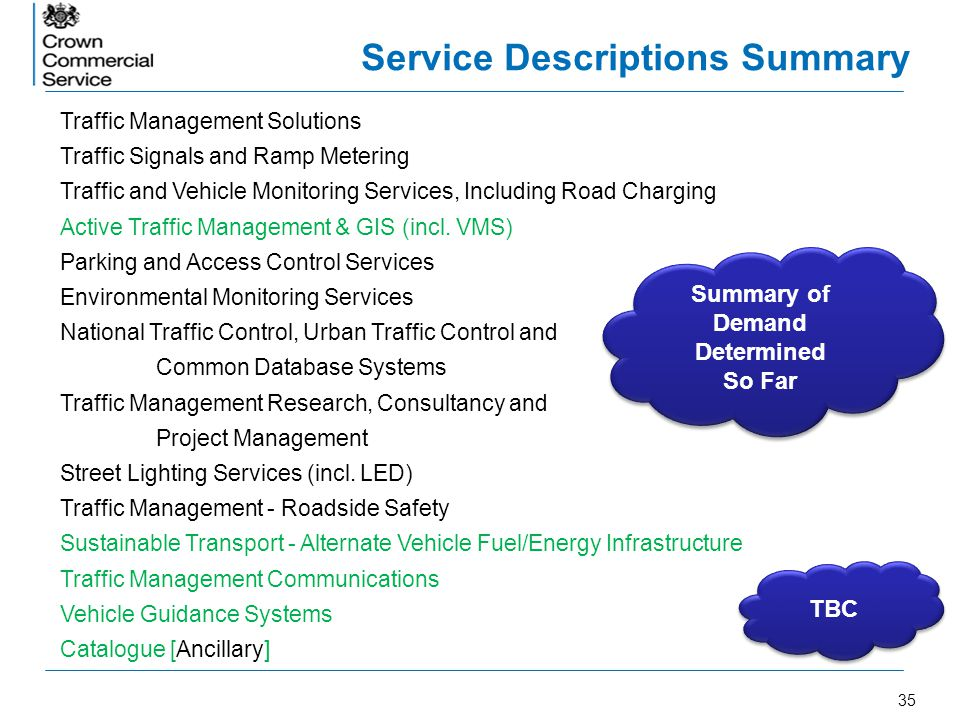 35 Service Descriptions Summary Traffic Management Solutions Traffic Signals and Ramp Metering Traffic and Vehicle Monitoring Services, Including Road