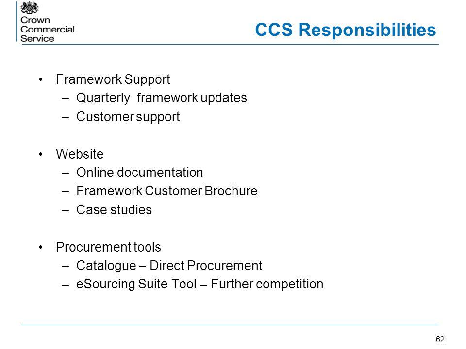 62 CCS Responsibilities Framework Support –Quarterly framework updates –Customer support Website –Online documentation –Framework Customer Brochure –C