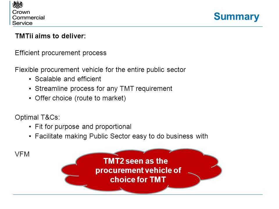 Summary TMTii aims to deliver: Efficient procurement process Flexible procurement vehicle for the entire public sector Scalable and efficient Streamli