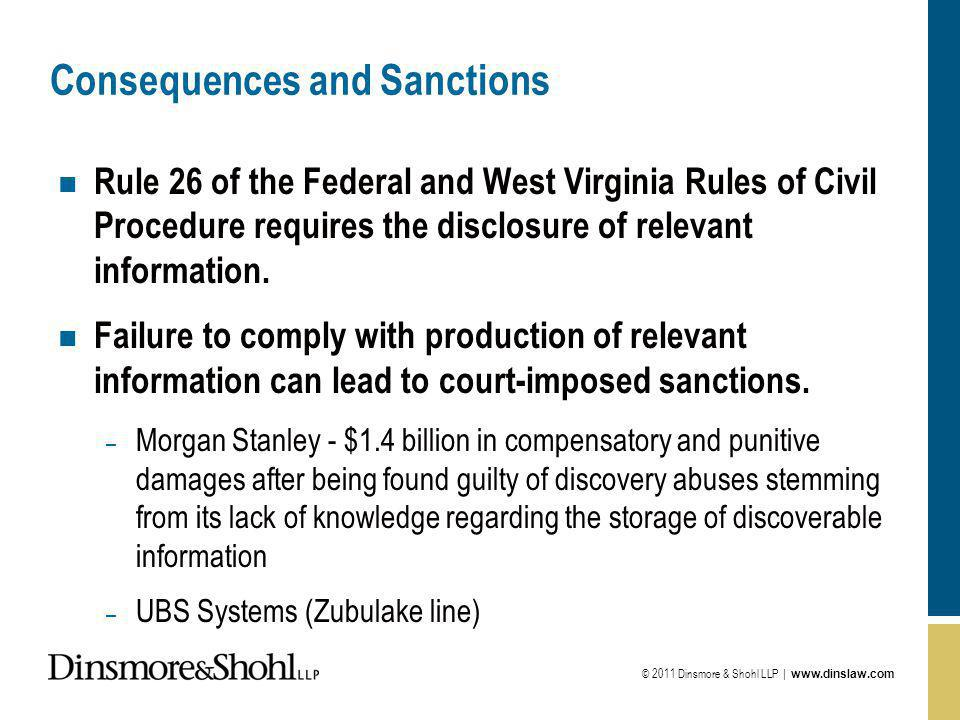 © 2011 Dinsmore & Shohl LLP | www.dinslaw.com Consequences and Sanctions n Rule 26 of the Federal and West Virginia Rules of Civil Procedure requires the disclosure of relevant information.