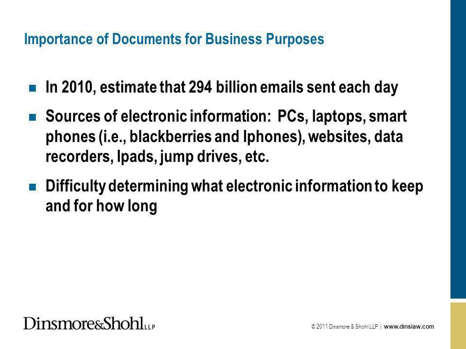 © 2011 Dinsmore & Shohl LLP |   Importance of Documents for Business Purposes n In 2010, estimate that 294 billion  s sent each day n Sources of electronic information: PCs, laptops, smart phones (i.e., blackberries and Iphones), websites, data recorders, Ipads, jump drives, etc.