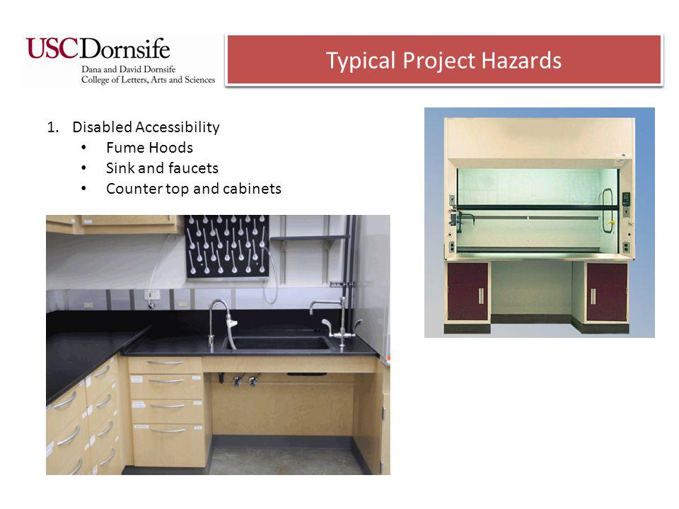 Typical Project Hazards 1.Disabled Accessibility Fume Hoods Sink and faucets Counter top and cabinets