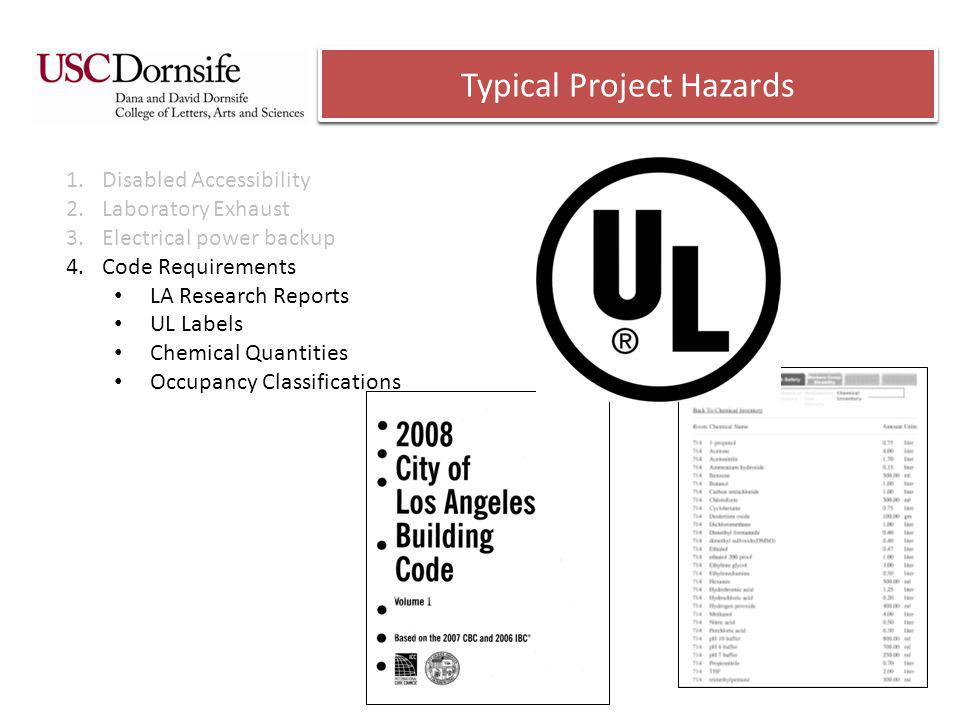 Typical Project Hazards 1.Disabled Accessibility 2.Laboratory Exhaust 3.Electrical power backup 4.Code Requirements LA Research Reports UL Labels Chemical Quantities Occupancy Classifications