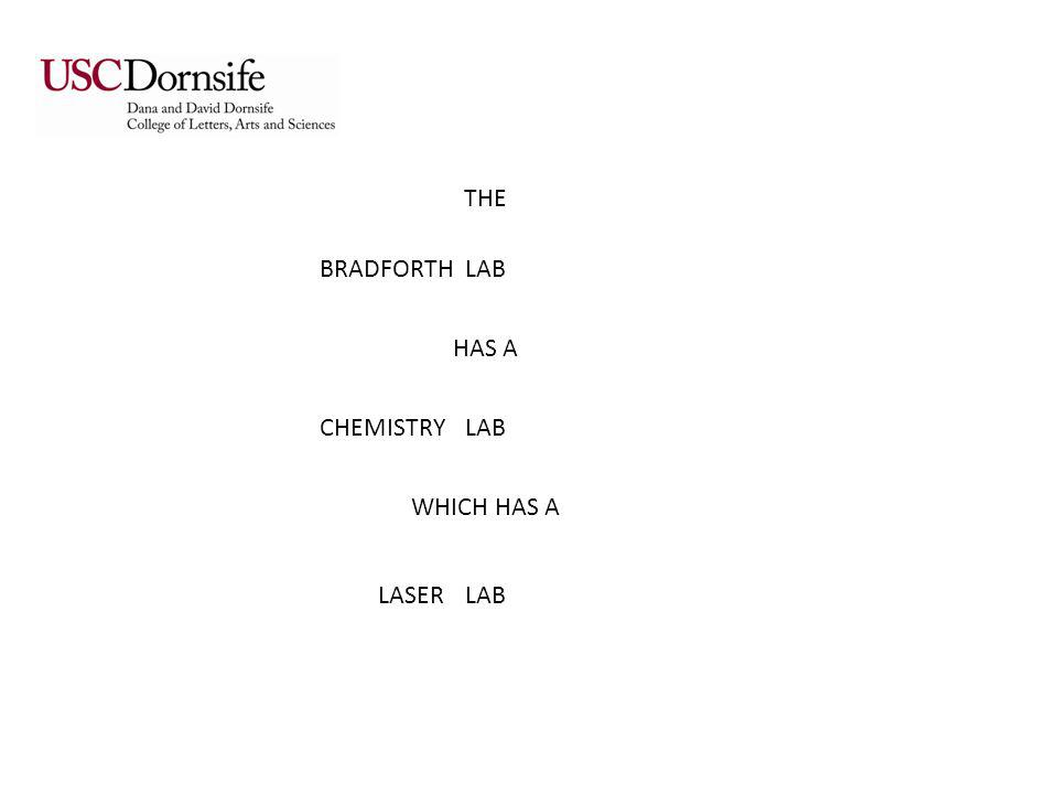 THE LAB HAS A LAB WHICH HAS A LAB BRADFORTH CHEMISTRY LASER