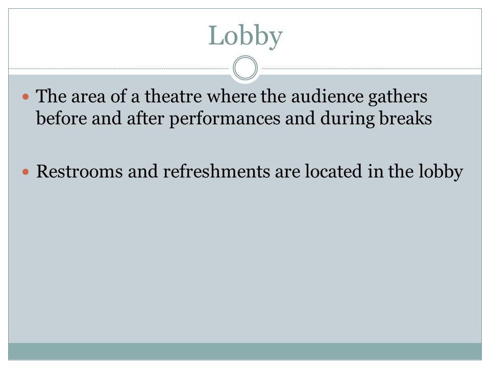 The area of a theatre where the audience gathers before and after performances and during breaks Restrooms and refreshments are located in the lobby