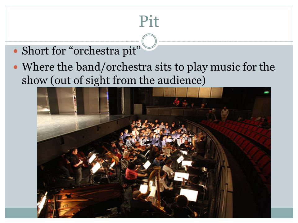 Short for orchestra pit Where the band/orchestra sits to play music for the show (out of sight from the audience)
